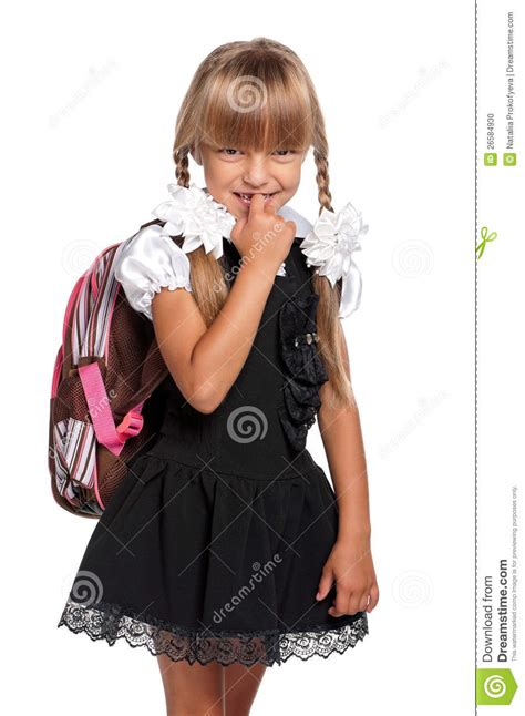 girl  backpack stock photo image  expression