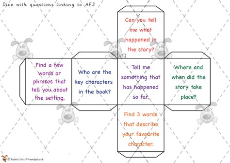 teacher s pet reading question dice premium printable