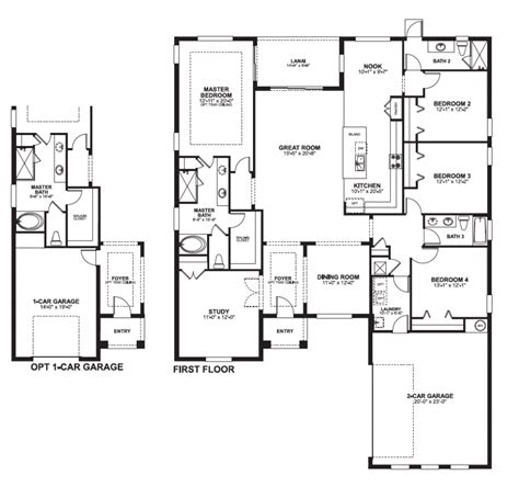 19 4 bedroom floor plans 2 story side load garage house luxamcc