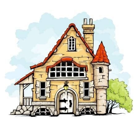 small cartoon house illustration shows done style isolated mansion clipart old house pencil and in color mansion