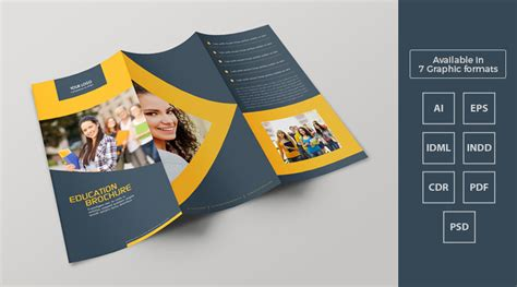 Tri Fold Education Brochure Template Design in Ai, EPS