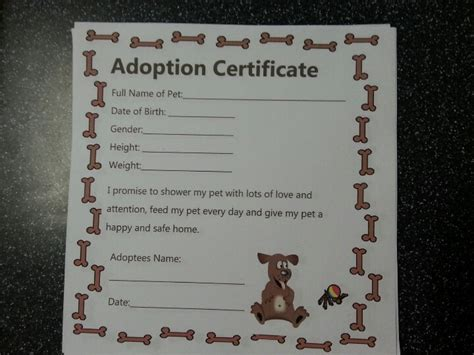 child adoption certificate template doggie adoption certificate for themed birthday
