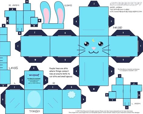 3d cardboard animals template moon bunny cubee 183 how to make a papercraft 183