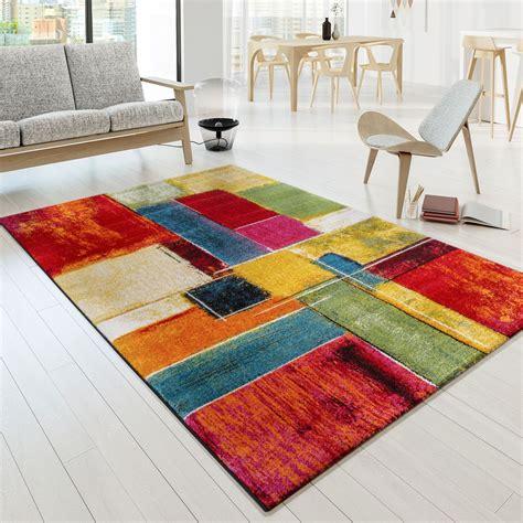 moderene teppiche designer teppich bunt karo design multicolour rot gr 252 n