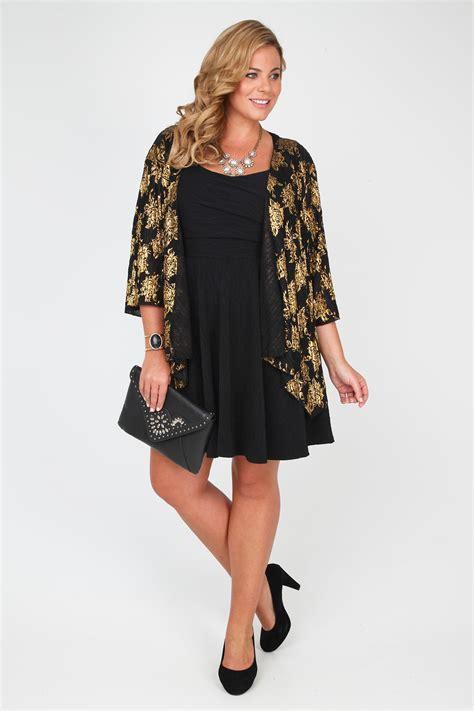Kimono Foil black gold foil print crinkle kimono shrug with waterfall front plus size 16 18 20 22 24 26 28 30