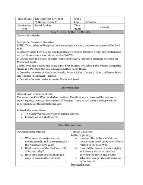 Ubd Lesson Plan Ubd Lesson Plan Template