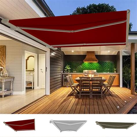 patio awning lights garden awning retractable canopy electric patio shelter