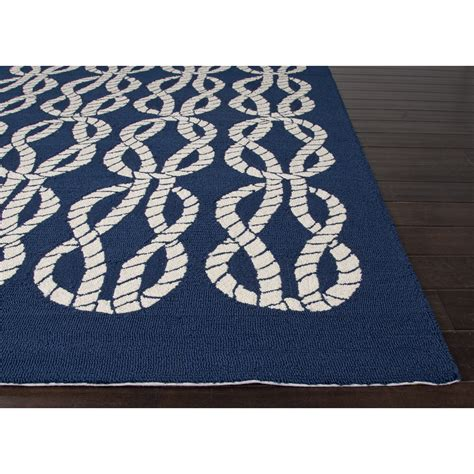 Jaipurliving Coastal Lagoon Blue White Indoor Outdoor Area Blue And White Outdoor Rug
