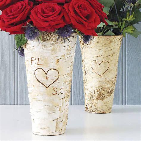 Birch Wood Vases by Personalised Rustic Birch Wood Vase By Letteroom