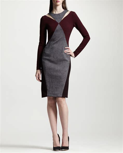 stella mccartney knit dress stella mccartney tweed panel twotone knit dress in