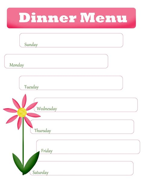 printable blank monthly menu planner 8 best images of printable blank dinner menu templates