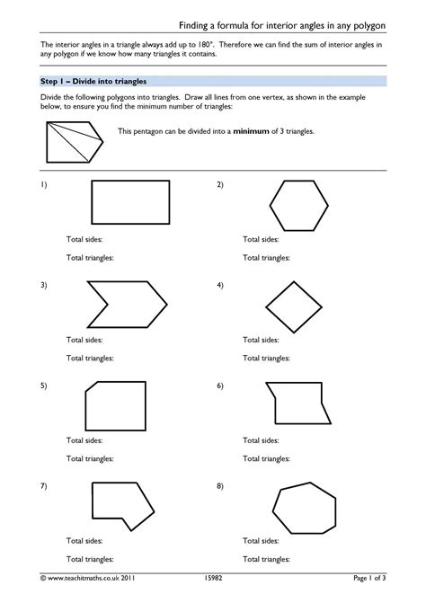 finding interior angles of a polygon worksheet finding a formula for interior angles in any polygon