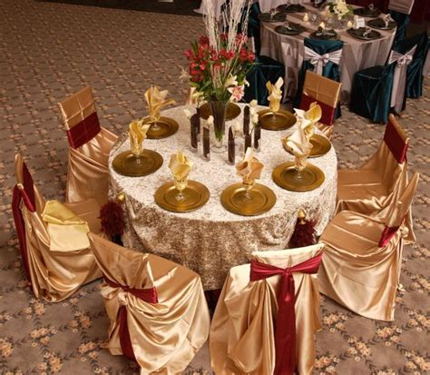 Modern Burgundy Gold Centerpieces Indoor Reception Winter