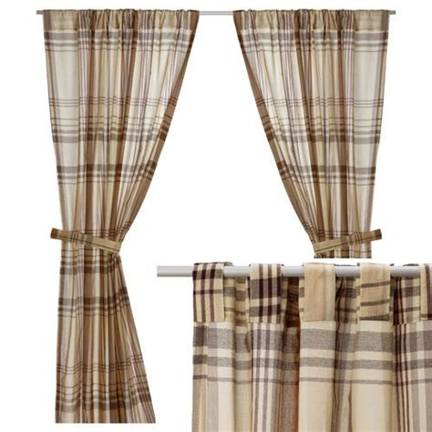 ikea tab curtains benzy curtains semi sheer tan beige plaid panels with
