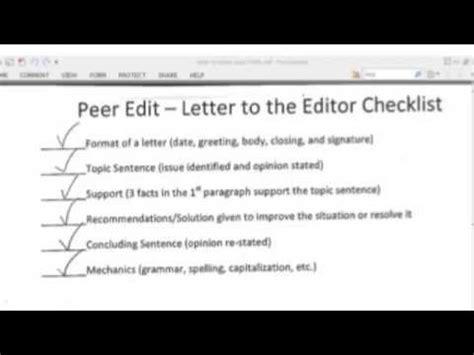 business letter peer editing checklist peer editing checklist letter to editor