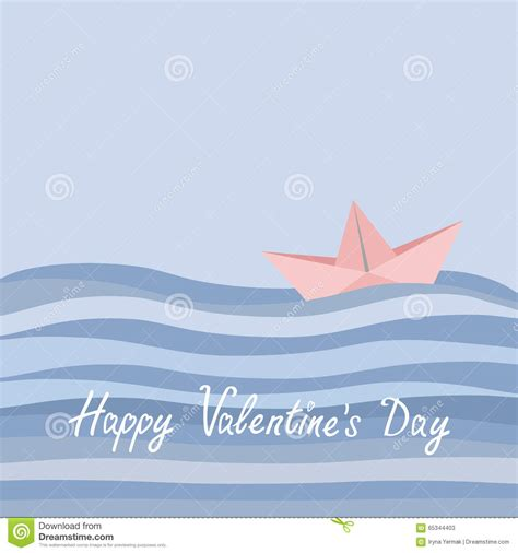 origami boat flat happy valentines day love card origami paper boat and