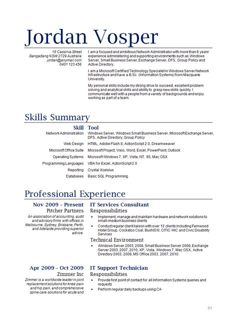 It Resumes Templates by Sle It Resume How To Write Stuff Org