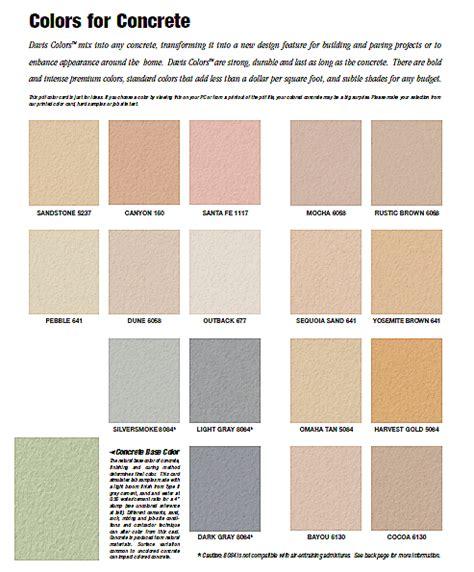 davis color davis concrete color chart resource building materials