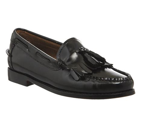 bass loafers g h bass co kiltie moc loafers in black lyst