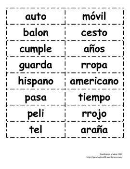 Words Palabras bilingual dual language compound words