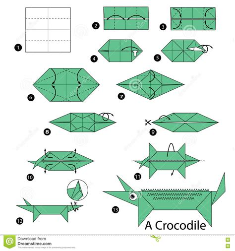 Origami Alligator - step by step how to make origami a crocodile