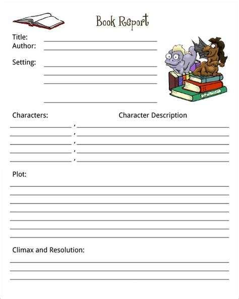 book pdf book report template print paper templates
