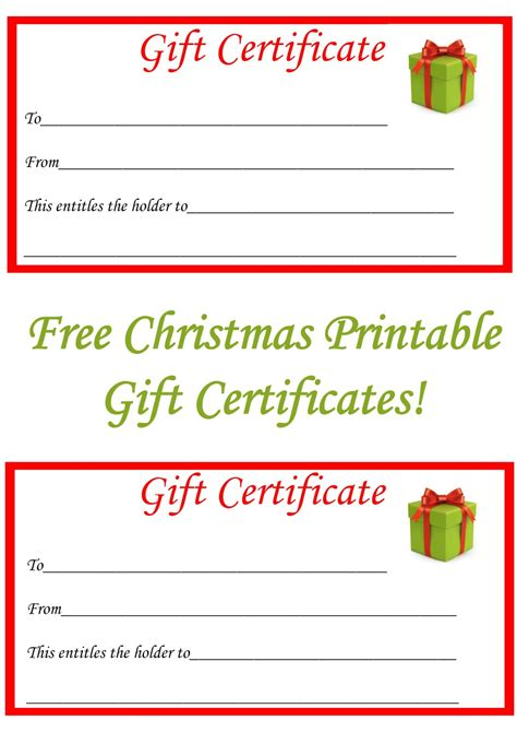 printable christmas gift cards free best 25 printable gift certificates ideas on pinterest
