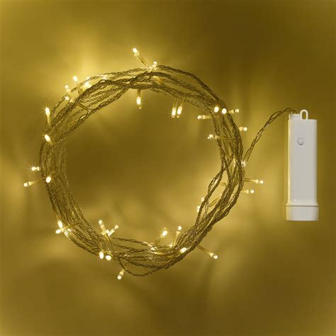 48 warm white led outdoor battery fairy lights on clear