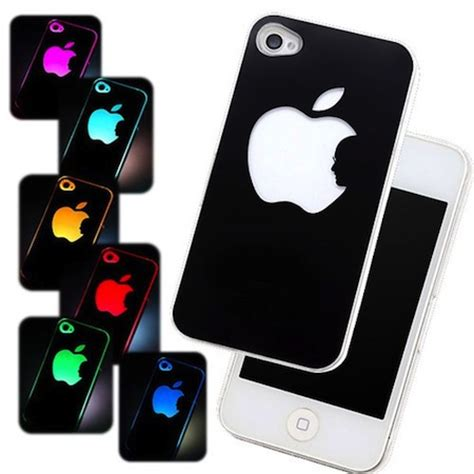 Led Iphone 4s coque iphone 4 4s led lumineuse logo pomme apple pas ch 232 re
