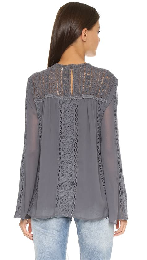 21812 Import Cotton Blouse Gray Mlxl sam lace patchwork blouse charcoal in gray lyst