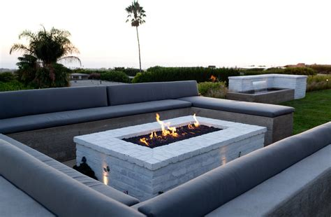 Rectangular Fire Pit Patio Contemporary With Built In Contemporary Firepit