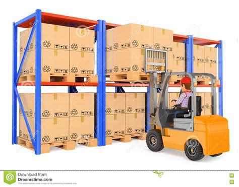 Warehouse No Background Check 3d Worker Driving A Forklift In The Warehouse Stock Illustration Image 73763787