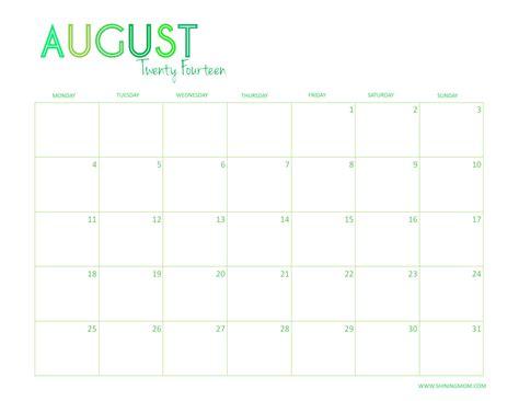 August Calendar 2014 Free Printable 2014 Desktop Calendar