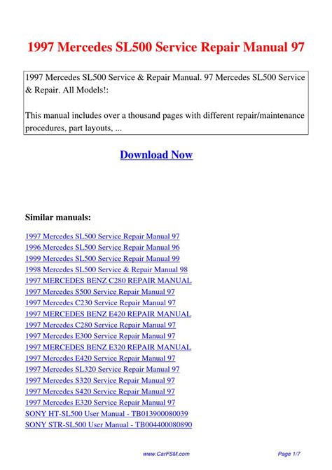1997 mercedes sl500 service repair manual 97 by hui zhang issuu