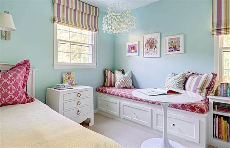 blue and pink girls bedroom pink and blue girl room with reading nook window seat transitional girl s room