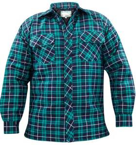 mens quilted lined padded lumberjack check flannel winter