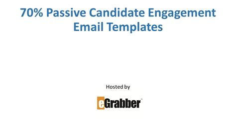 Passive Candidate Engagement Email Templates Youtube Passive Candidate Email Template