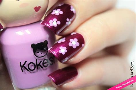 imagenes de uñas con flores lindas u 241 as bonitas decoradas con burdeos y flores rosas fotos