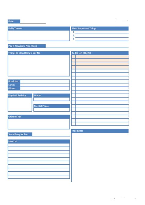 free templates 40 printable daily planner templates free template lab