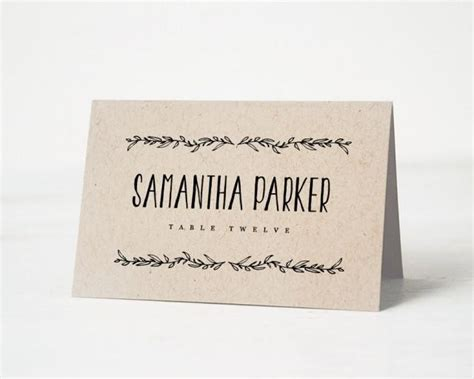 rustic place card templates printable place card template wedding place cards