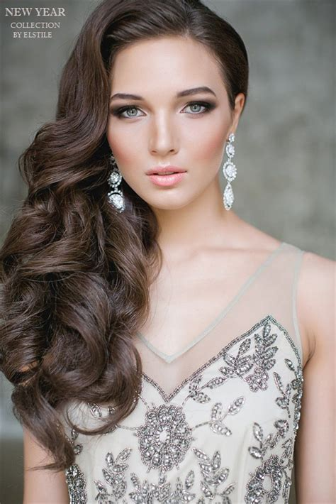 hairstyles hair on one side one side half up wavy wedding hairstyle for long hair