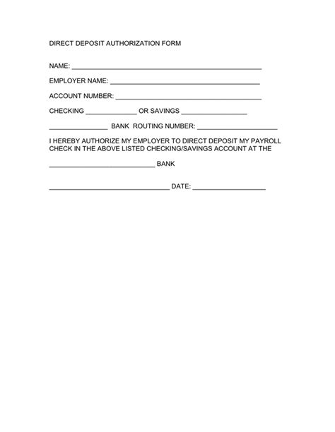 authorization letter to deposit format direct deposit authorization form in word and pdf formats