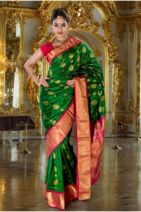 Chayra Blouse Au Collections silk green modish saree with rani pink gold border sr10316 indian traditional designs
