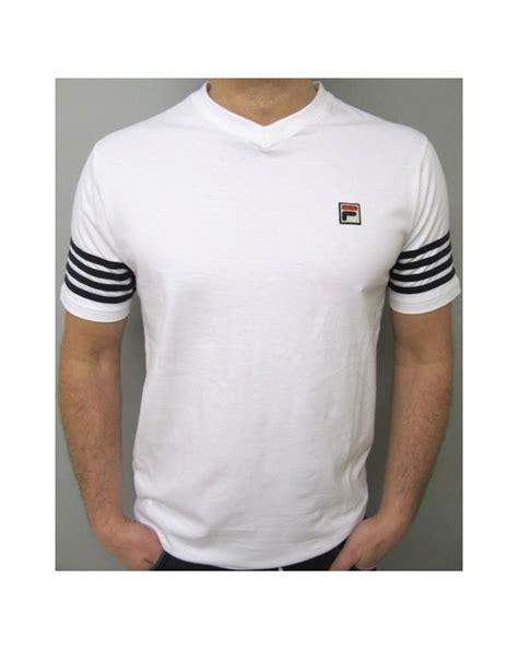 fila vintage 4 stripe v neck t shirt white navy crew