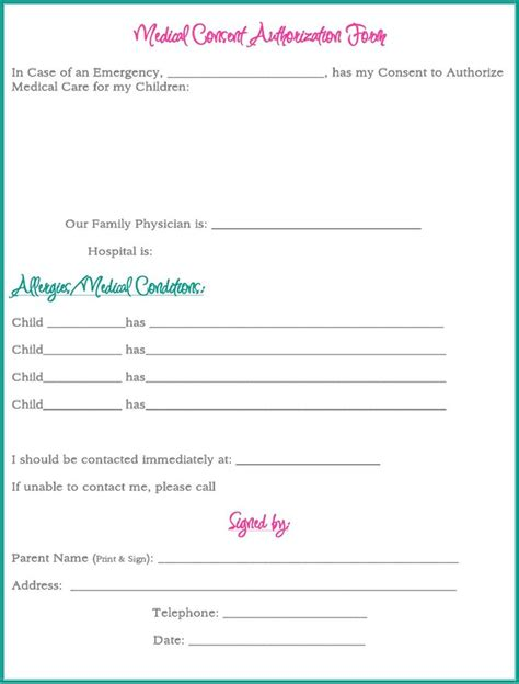 medical consent form while your away via http www