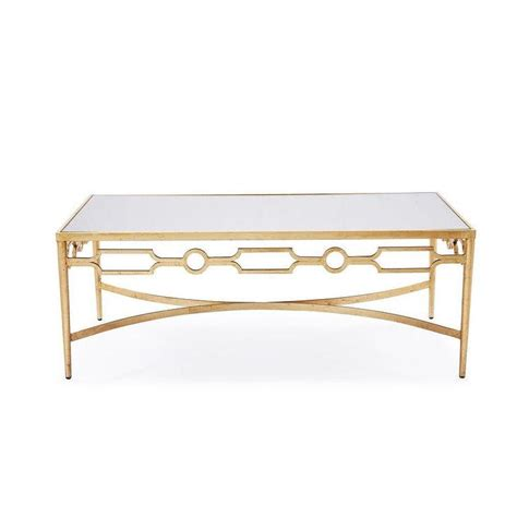 gold mirrored end table interlude larissa mirrored coffee table with gold leaf finish