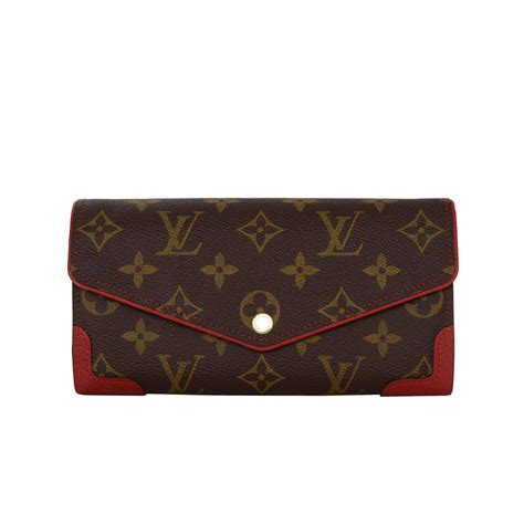 louis vuitton monogram sara retiro wallet  red leather