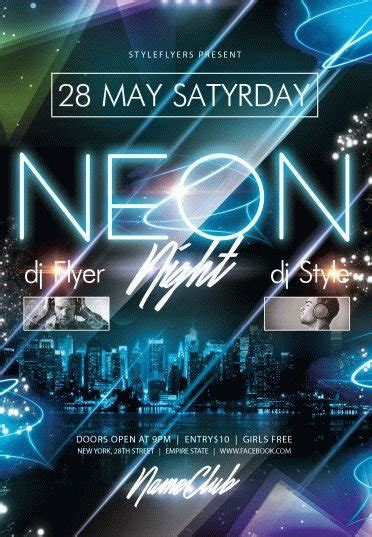 Neon Party Psd Flyer Template 8313 Styleflyers Neon Flyer Template Free