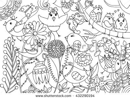 illustrations and meditations or flowers from a puritan s garden classic reprint books birds flowers coloring page black white stock vector