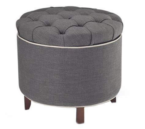Tufted Fabric Storage Ottoman With Reversible Tray Top Tufted Fabric Ottoman